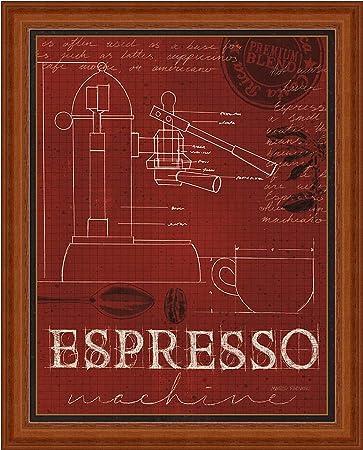 Amazon coffee blueprint iv marco fabiano red espresso machine coffee blueprint iv marco fabiano red espresso machine art print framed picture wall dcor artwork malvernweather Choice Image