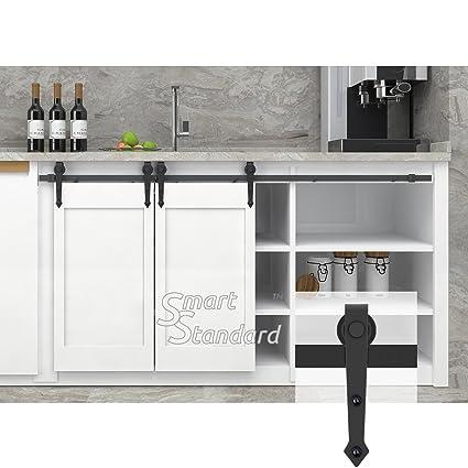 Bon 6ft Double Door Cabinet Barn Door Hardware Kit  Mini Sliding Door Hardware    For Cabinet
