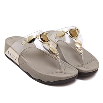 ff294fb005f1 TieNew Ladies Low Wedge Fit Flip Flop Toe Post Crystal Sandals Shoes ...