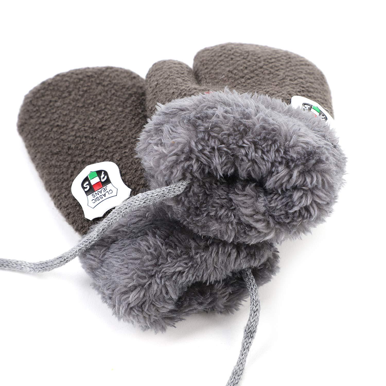 Kids Toddler Knitted Mittens Winter Woolen Warm Gloves with String for Boy Girls