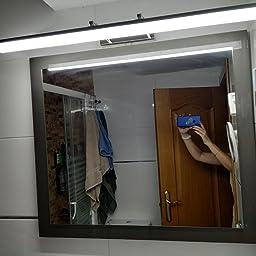 Klighten 20W 90CM LED Lámpara de espejo Armario Baño Lámpara IP44 5500K Anti niebla Niebla Lámpara de gabinete de espejo de acero inoxidable Lámpara Espejo 180° Giratorio: Amazon.es: Iluminación
