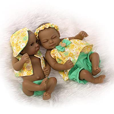 "TERABITHIA Mini 11"" Black Couple Alive Reborn Baby Dolls Silicone Full Body African American Twins: Toys & Games [5Bkhe0305999]"