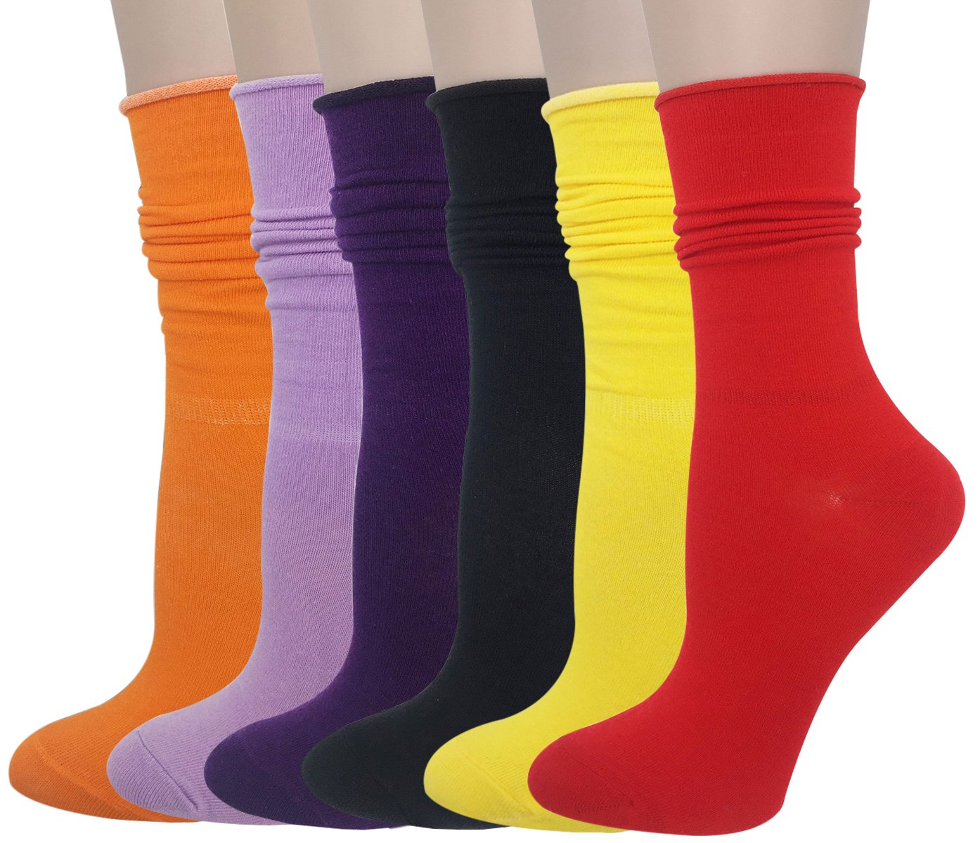 Cityelf Women's Classic Roll Top Cotton Compression Socks (6 pairs, mix) by Cityelf (Image #2)