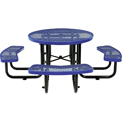 Magnificent Global Industrial 46 Expanded Metal Round Picnic Table Blue Caraccident5 Cool Chair Designs And Ideas Caraccident5Info