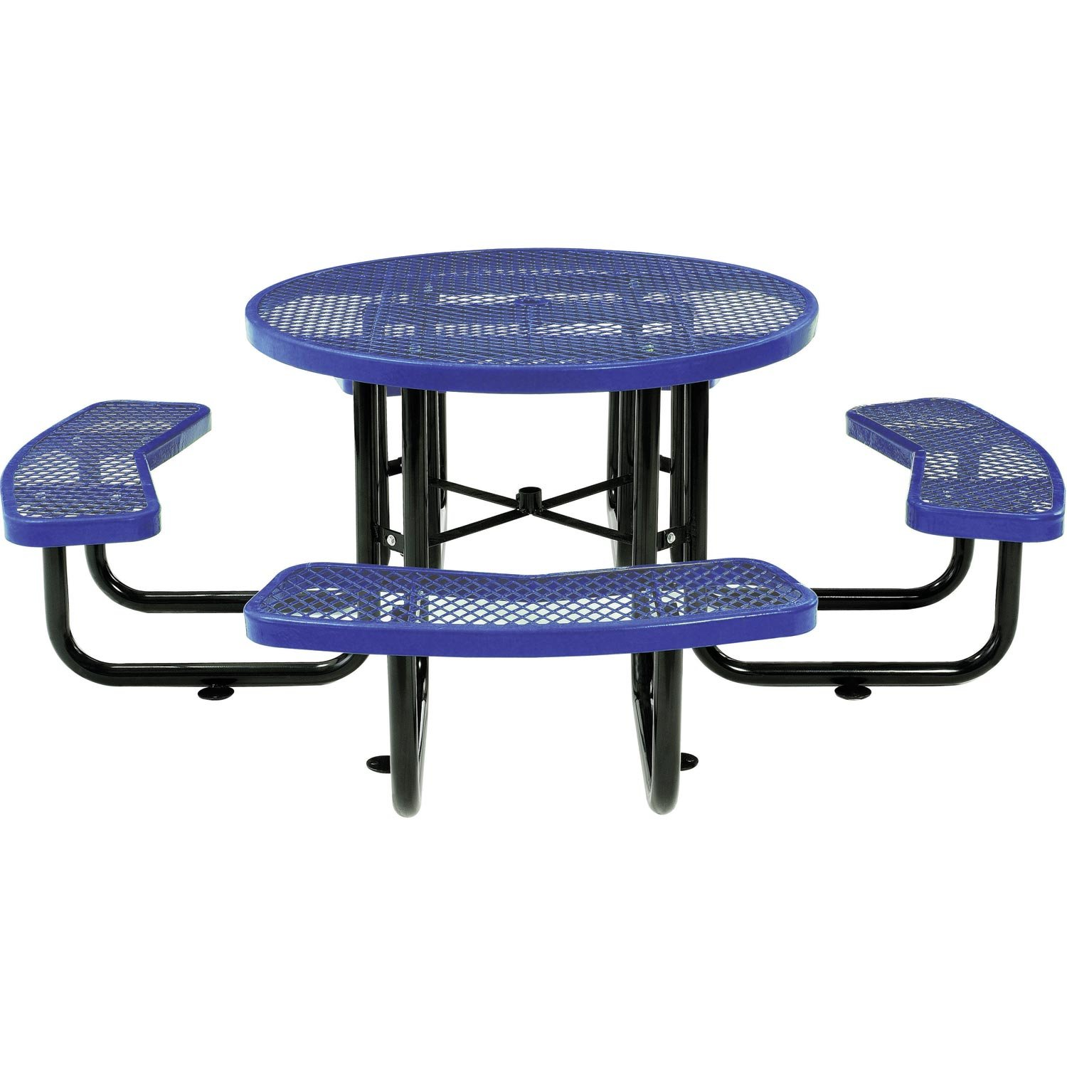 Global Industrial 46'' Expanded Metal Round Picnic Table, Blue
