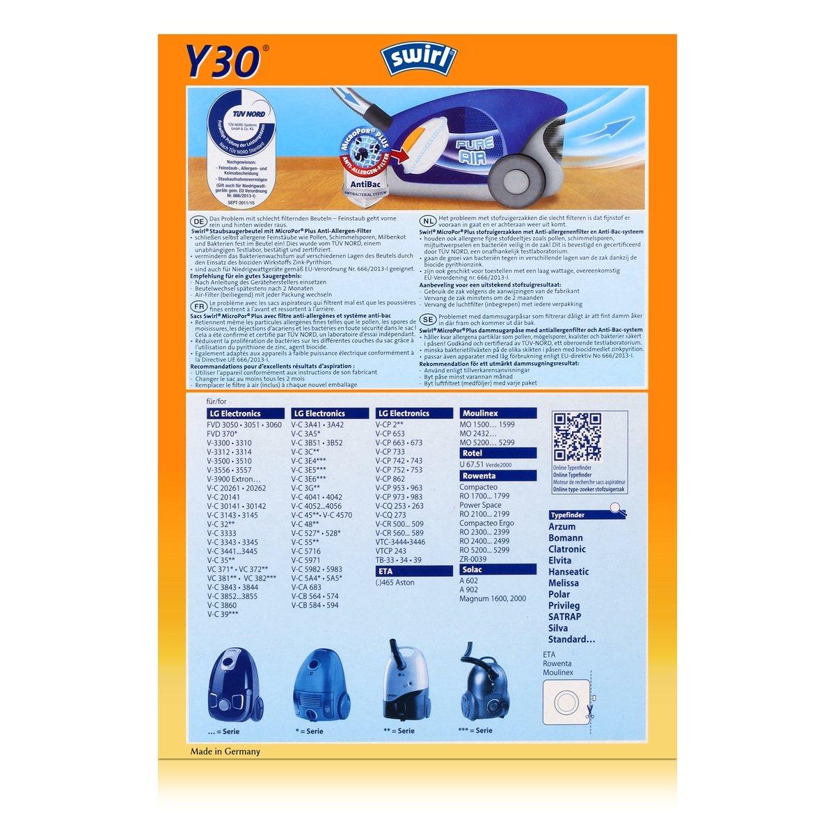 10,20,30 Staubsaugerbeutel für LG Electronics VTCP 243 MV624