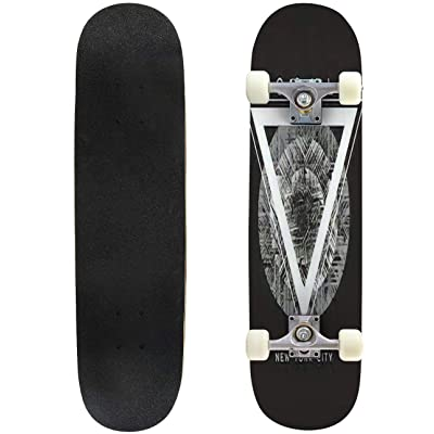Classic Concave Skateboard Vector Illustration on The Theme of New York City Brooklyn Grunge Longboard Maple Deck Extreme Sports and Outdoors Double Kick Trick for Beginners and Professionals : Sports & Outdoors