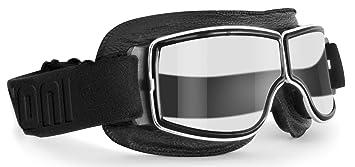 Gafas Moto Vintage de Piel Negra y Montura Cromo - Ventilación Anti-Vaho - by