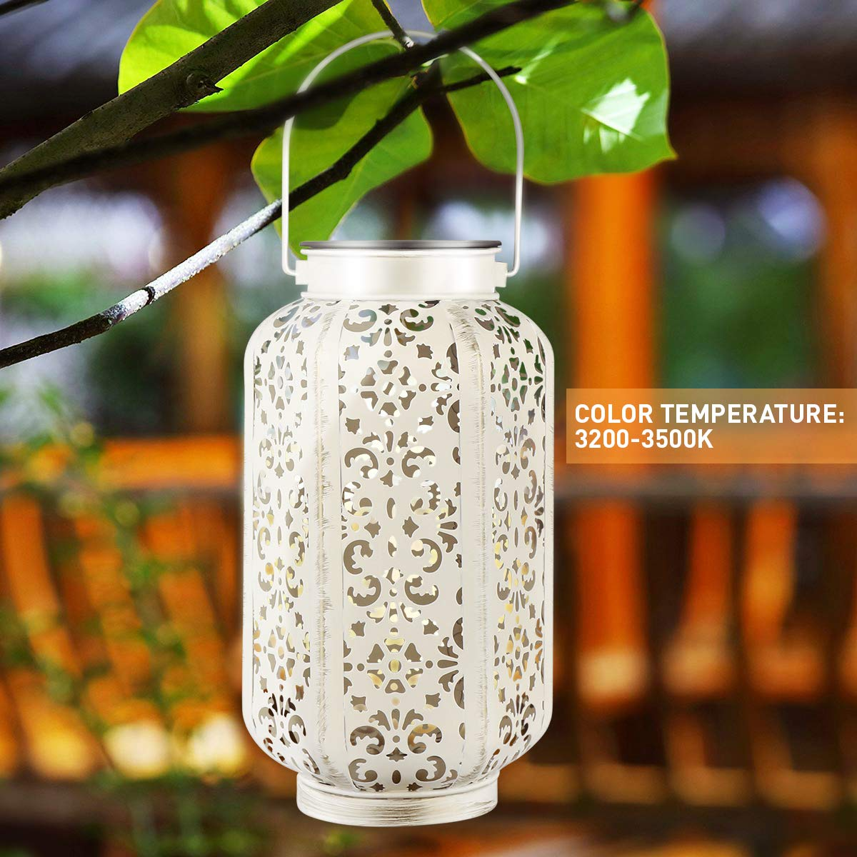 YUNLIGHTS Hanging Solar Lights Outdoor Solar Powered Lantern LED Lanterns Decorative lamp for Garden/Patio/Hallway, Waterproof, 8-10h Working Time, Warm White, 2 Pack