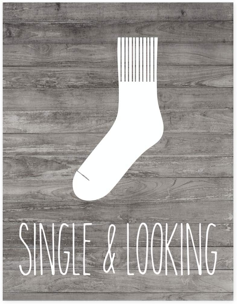 Andaz Press Laundry Room Wall Art Decor Signs, 8.5 x 11-inch Poster, Rustic Farmhouse Gray Wood, Single and Looking Sock Graphic, 1-Pack, Unframed