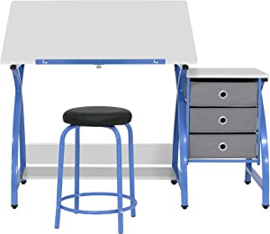 Venus Designed Craft Center with Tilt Adjustable Art Drafting Desk Table and 3 Drawer Under Desk Storage