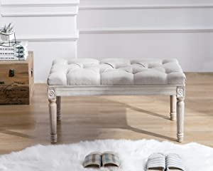 Kmax Tufted Entryway Bench, Upholstered Rustic Ottoman Bench, 31.5