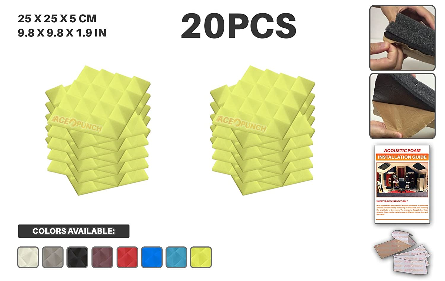 Amazon.com: Ace Punch 20 Pack YELLOW Self Adhesive Pyramid Acoustic ...
