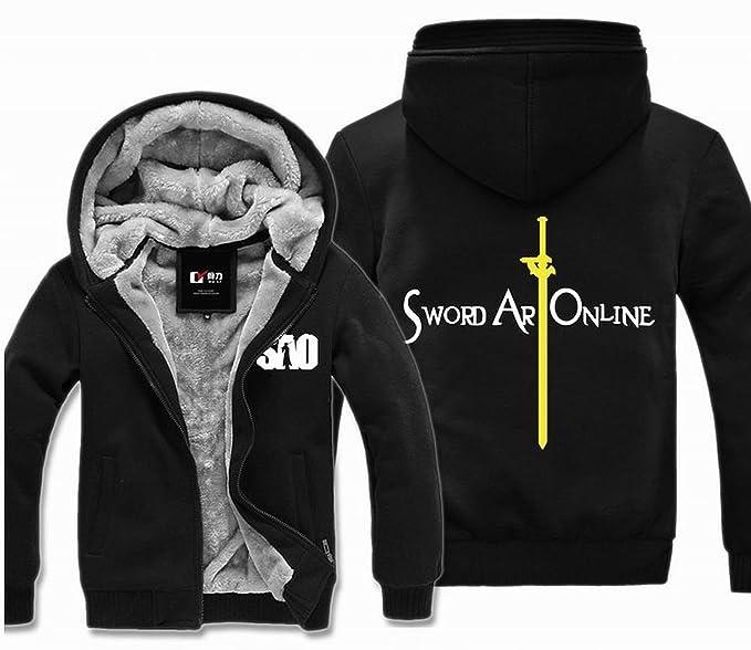 Sword Art Online 2 Sao Gun Gale Online Kirito Asuna sinón de Zip Up Sudadera con capucha sudadera con capucha sudadera con capucha negro amarillo: ...