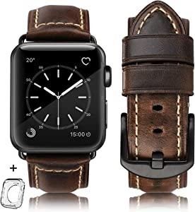 Compatible for Apple Watch Band 42mm 44mm Men,Top Grain Leather Band Replacement Strap iWatch Series 6/5/ 4/ 3/ 2/ 1,SE,Sport, Edition. New Retro discoloured Leather (Retro coffee+Black buckle, 42mm44mm)