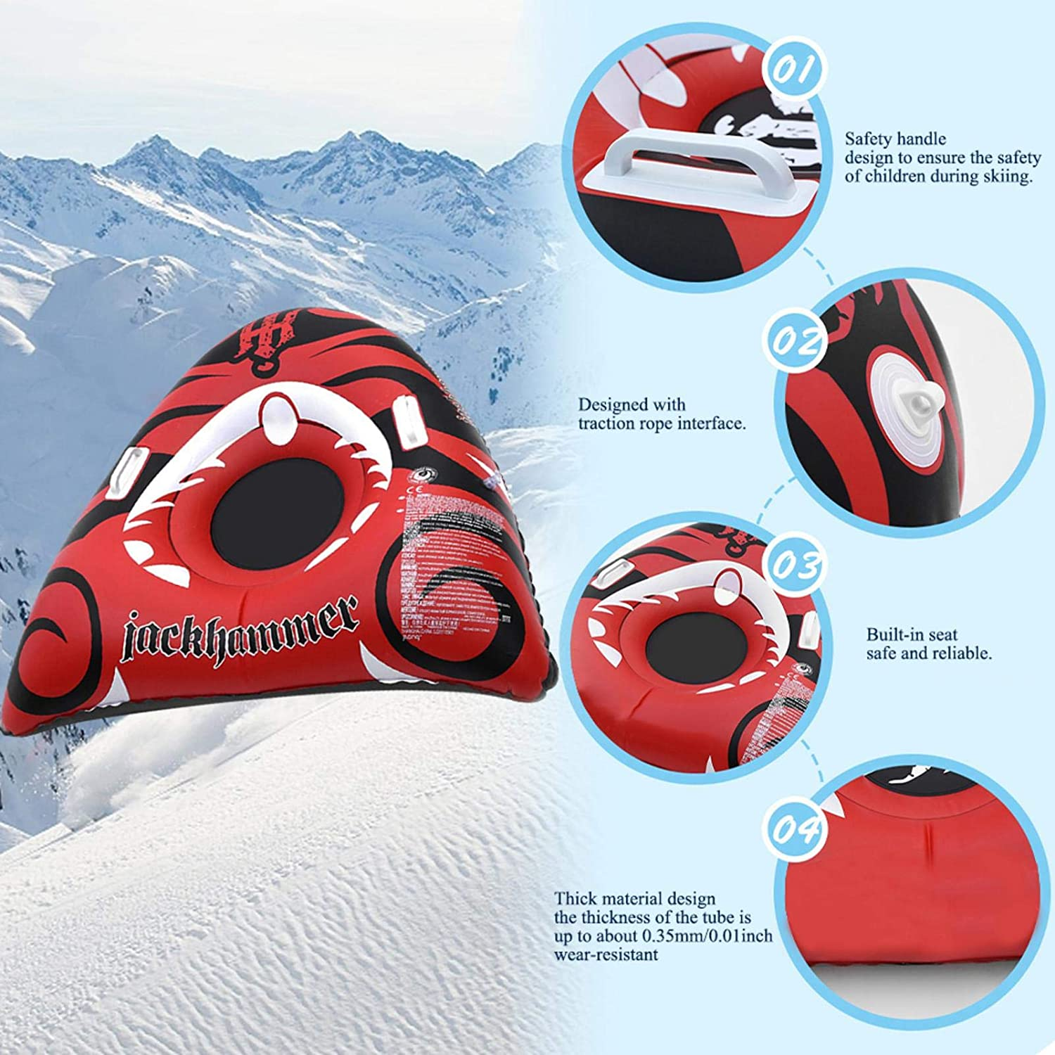 Inflatable Snow Tube Large Thick Snow Kids Sledding Board For Kids And Adults Ideal Winter Snow Tube Sled With Safety Handles Snow Tube Heavy Duty Sledge Inflatable Sledge For Kids And Adults