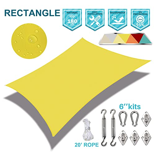 Coarbor Waterproof 10 x15 Customized Sun Shade Sail Canopy Came with Hardware Kit Rectangle UV Block Polyester for Pergola Carport Awning Patio Yard- Make to Order-Yellow