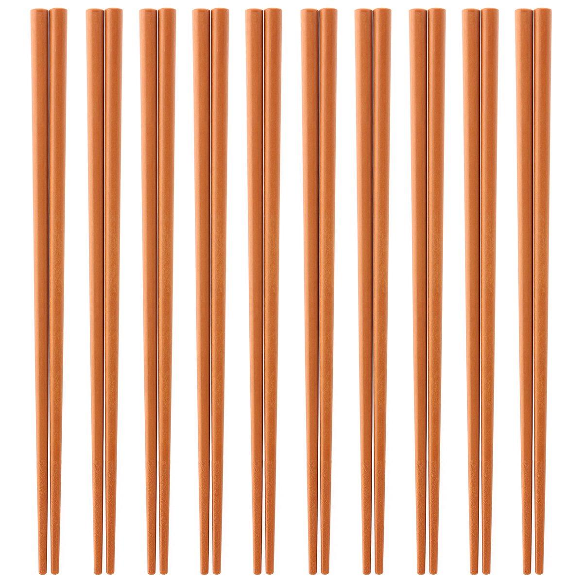 Made in Japan Business for 10 Eco Dishwasher-Safe Chopsticks Set Meal (Light Brown) SPS Resin use Chopsticks ECO Dishwasher, high Temperature and Depot Support 22.5cm x 3mm Angle (Chopsticks Point)