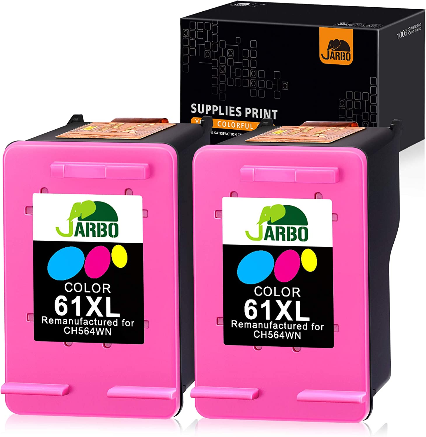 JARBO Remanufactured Ink Cartridge Replacement for HP 61 61XL Ink Cartridge, with Ink Level Display for HP Envy 4500 5530 5534 Deskjet 1000 1512 2540 3050 Officejet 4630 (2 Tri-Color, 2 Pack)