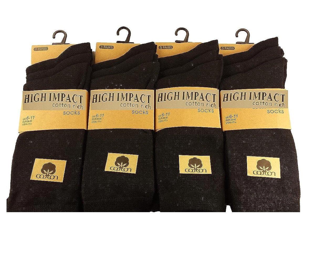 12 Paia di Calzini da Uomo Di Marca Cotton Lycra Design Formale Sock Taglia UK 6-11