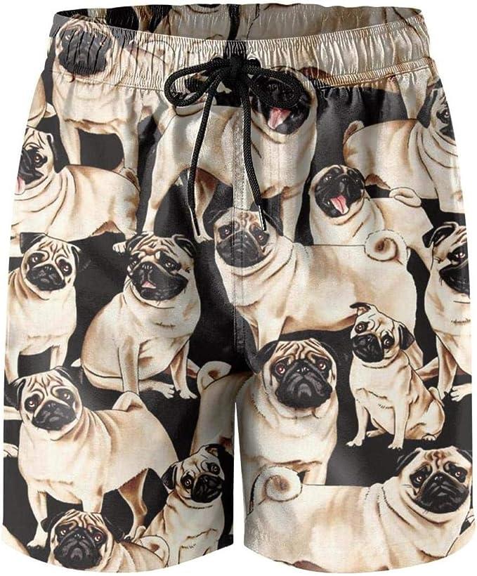 NANIERKOJ Pugs Dogs Bulldog Puppy Life Child Pocket Fully Lined Elastic Medium Length Swimming