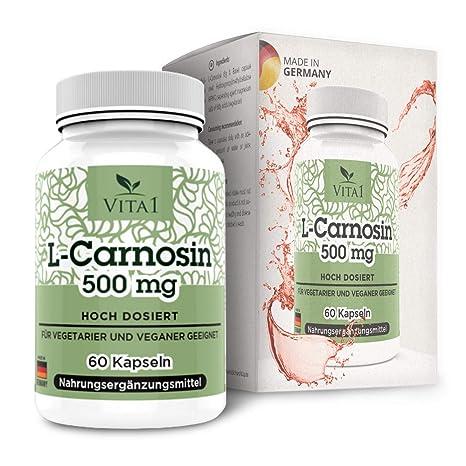 Cápsulas de L-Carnosina 500mg de VITA1 • 60 cápsulas (un mes de suministro