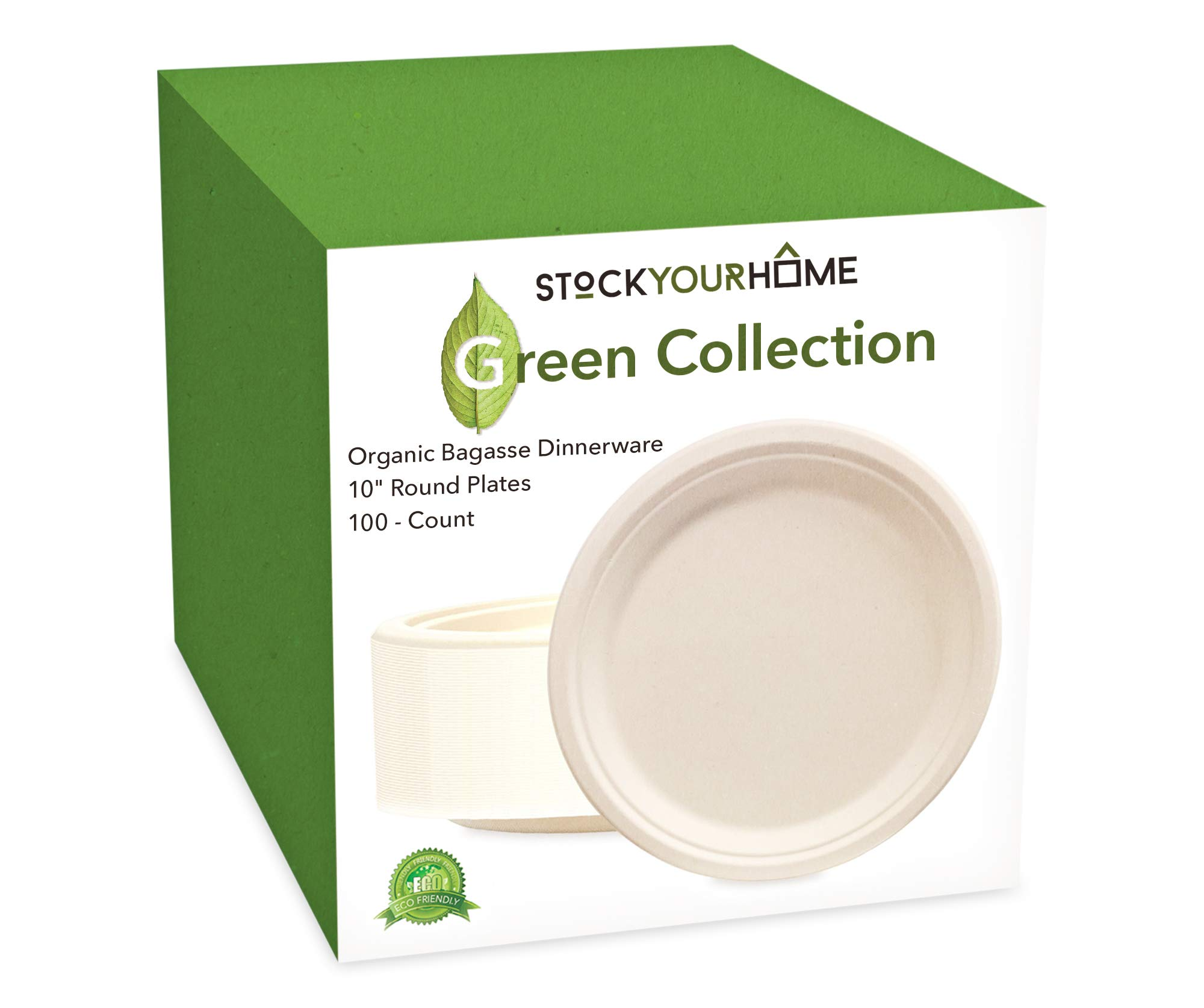 100 Pack of 10'' Round Organic Bagasse Plates Ecofriendly Disposable Dinner Plates for Picnic, Party, Catering & Everyday Use - Stock Your Home