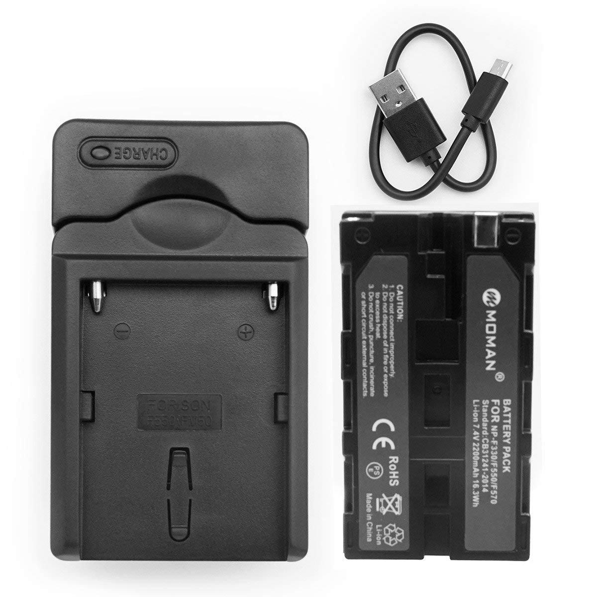 Moman NP-F550 Batería y Cargador, Reemplazable NP-F330 NP-F530 NP-F570, Batería para Feelworld Monitor DSLR, Batería para Luz LED Video