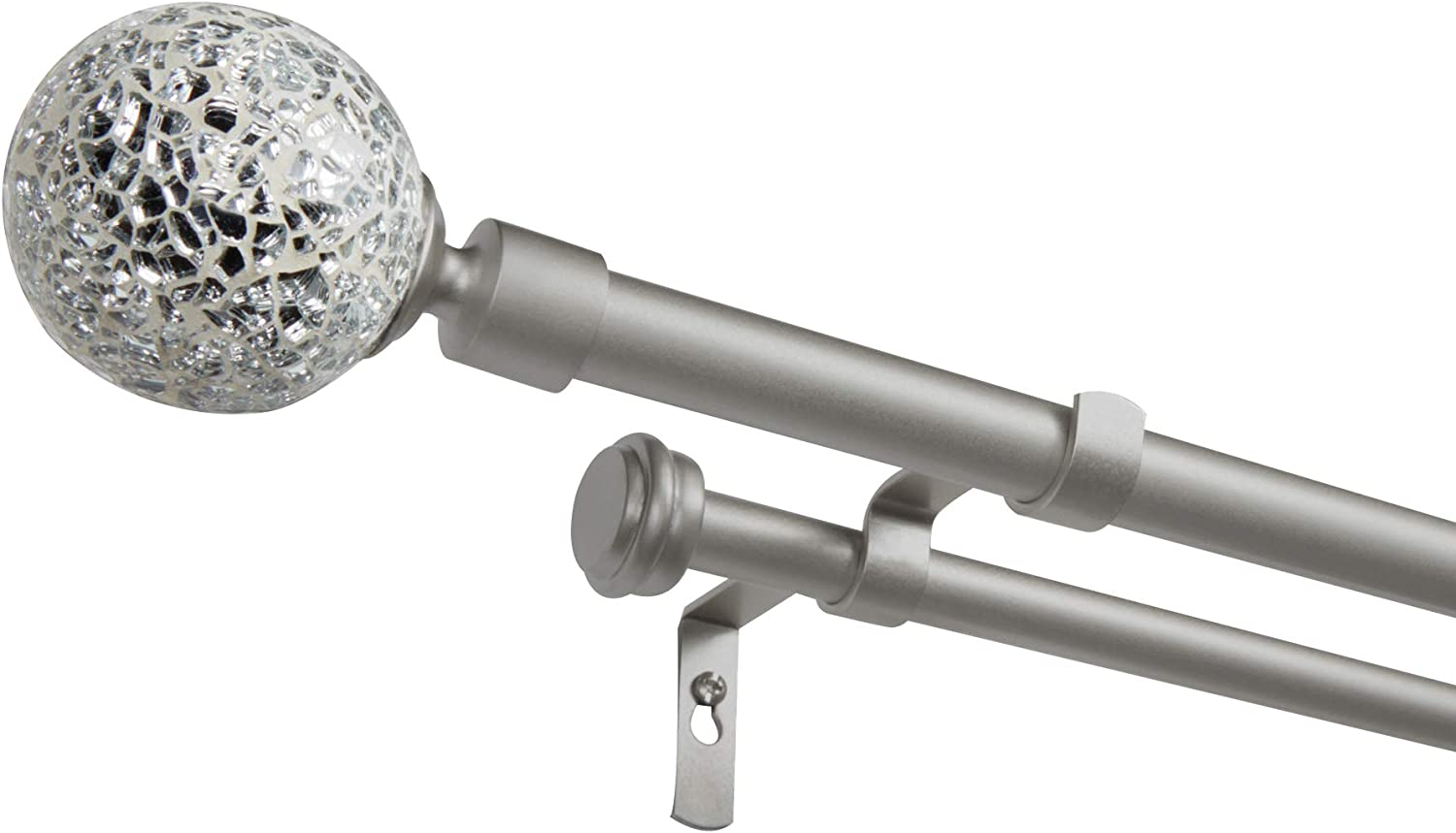 """Exclusive Home Curtains White Mosaic Double Curtain Rod and Finial Set, 36""""-72"""", Matte Silver"""