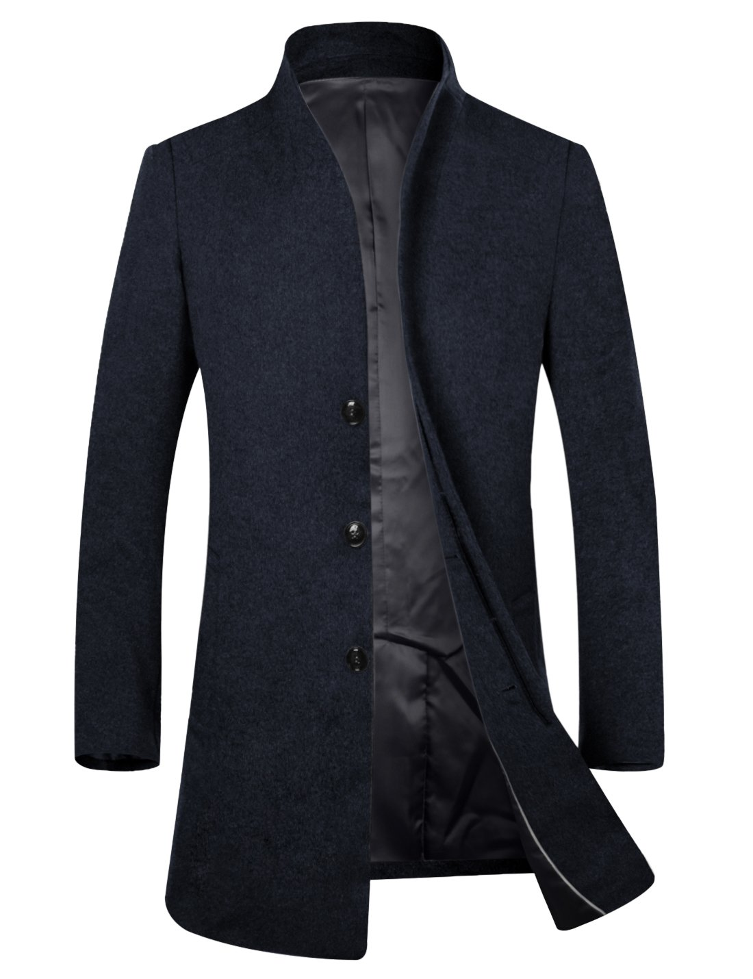 APTRO Men's Wool French Front Slim Fit Long Business Coat 1681 DZDY Navy M