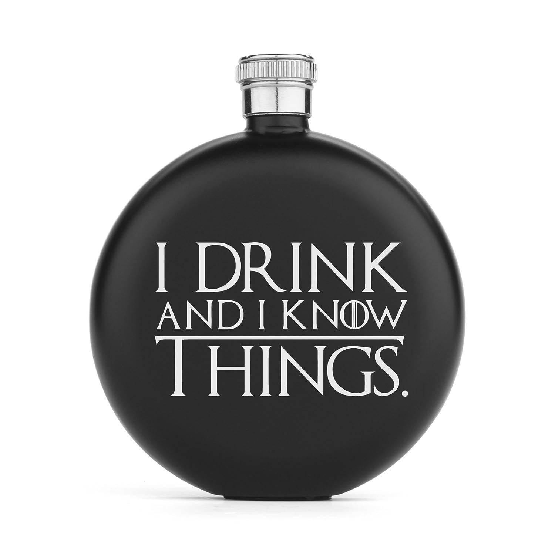 【税込?送料無料】 5オンスマットブラックラウンドヒップフラスコI Drink and Know I Things Know Things and B073WN1VN3, 古恵良質店:770d10be --- a0267596.xsph.ru
