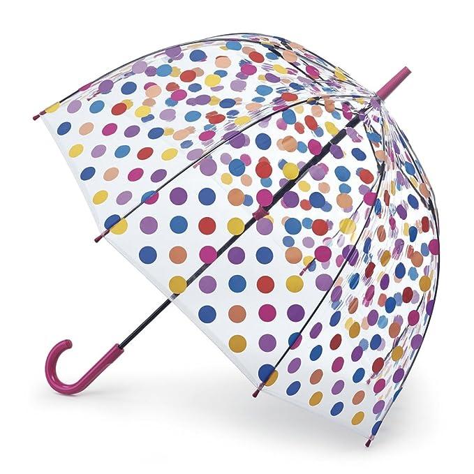 Paraguas de cúpula de transparente de lunares, multicolor