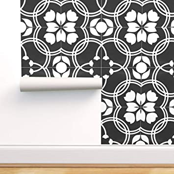 Spoonflower Peel And Stick Removable Wallpaper Spanish Tiles Black White Tile And Floral Print Self Adhesive Wallpaper 12in X 24in Test Swatch Amazon Com
