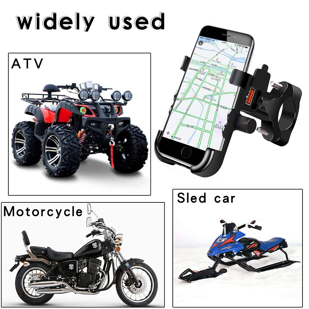 Meipire Motorcycle Mobile Phone Aluminum Alloy Bracket Holder with QC3.0 USB Power Outlet fast charge Phone Holder suit for ATV Motorcycle Rearview mirror installation black