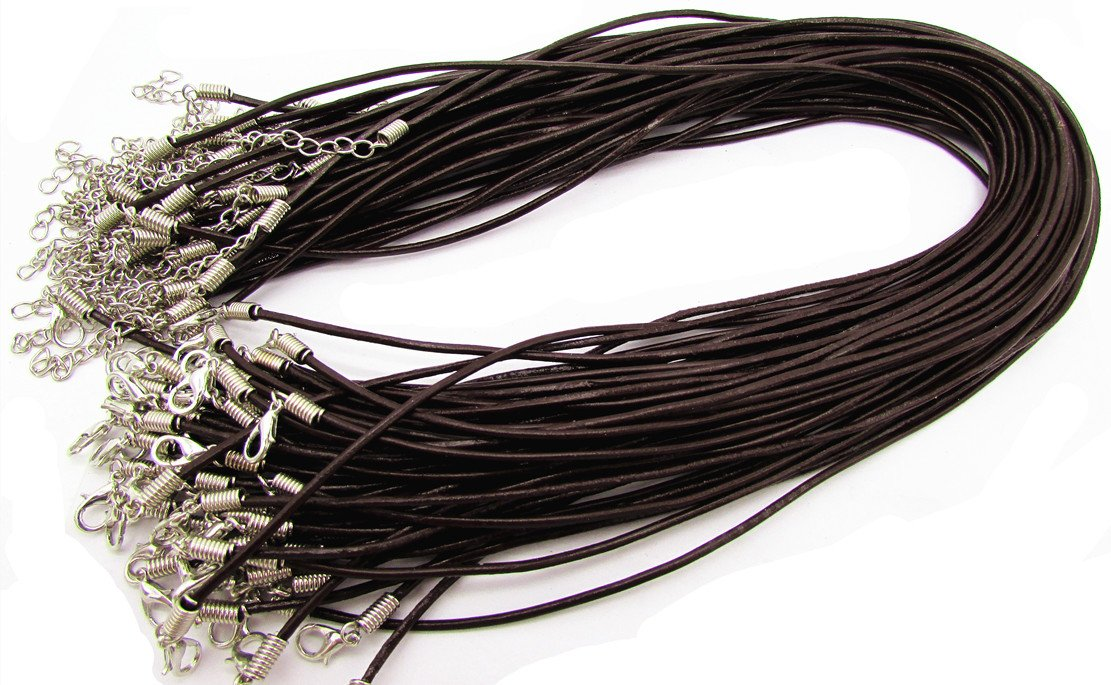 Brown Round Leather Necklace Cord 2.0 With Clasp Lobster 18 50Pcs