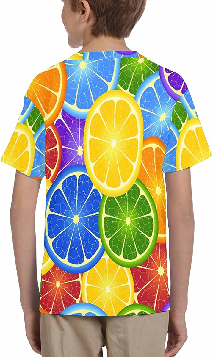 XS-XL INTERESTPRINT Youth T-Shirts Rainbow Orange Background