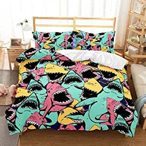 APJJQ Kids Shark Bedding Full/Queen Microfiber 3D Blue/Pink/Yellow Big Open Mouth Sharks Bedspread Printed Cartoon Shark Duvet Cover Set for Boys Girls 3 Pieces with 2 Pillowcase Black