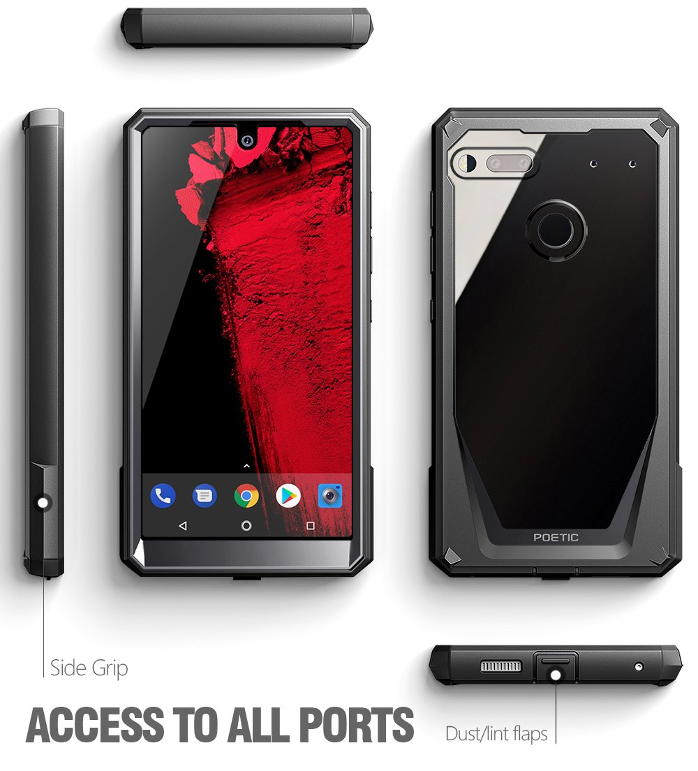 Essential Phone PH-1 Case 360 Degree Protection REVISED VERSION NOT Compatible with Tempered Glass Poetic Guardian Full-Body Case with Built-in-Screen Protector for Essential Phone PH-1 Pink Scratch Resistant