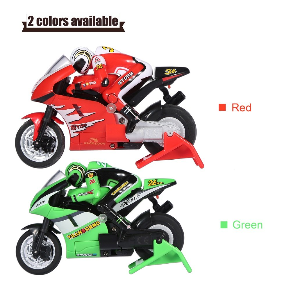 Color : Green Kids RC Motorcycle Remote Control RC Off-Road Racing Motor with USB Cable