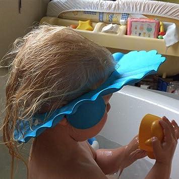 Bleu Jaune pour Enfants Protection des Yeux avec Tasse Pliable ZoneYan 3Pcs Bonnet de Douche B/éb/é Visiere Bain Enfant Chapeau Douche B/éb/é R/églable Visi/ère Bonnets de Bain