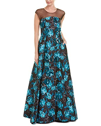 Sachin Babi Noir Womens Silk Trim Gown 8 Blue At Amazon Womens