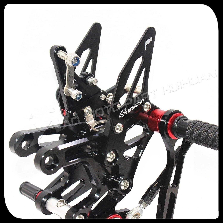 Rockmute CNC Ajustable Rear Set Brake Shift GP Racing Footpeg Compatible with Kawasaki Ninja ZX-10R 2016-2019 Black
