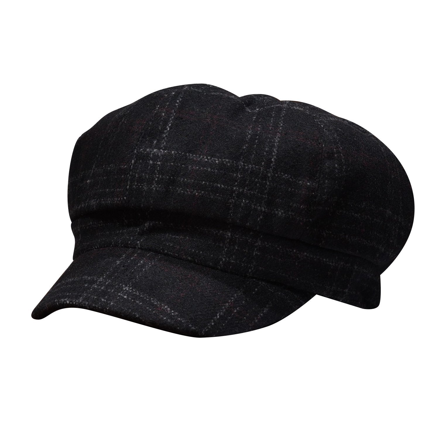 b6532079c Luxspire Women's Retro Plaid Octagonal Cap Winter Beret Newsboy Hat