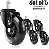 Amzdeal Office Chair Caster Wheels - Heavy Duty & Safe Chair Wheels Replacement Rollerblade Caster Wheels for All Floors Including Hardwood, Set of 5