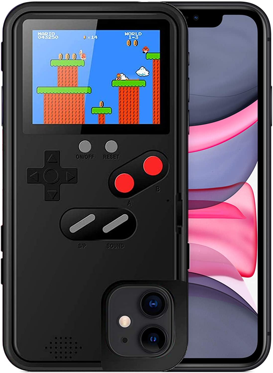 Playable Gameboy Case for iPhone 6P/6SP/7P/8P, Chu9 Retro 3D Shockproof Gameboy Cover Case with 36 Classic Games, Handheld Color Screen Video Game Console Case for iPhone (Black,iPhone 6P/6SP/7P/8P)