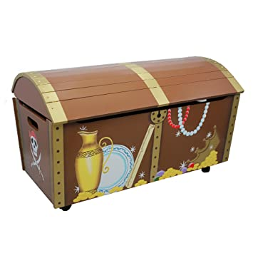 Best Fantasy Fields - Pirate Island themed Kids Wooden Toy Chest Toy  ZN96