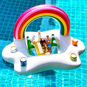 BestFire Inflatable Drink Holder Floating Rainbow Cloud Pool Drink Holder Floats Beverage Salad Fruit Serving Bar Pool Float Party Accessories Summer Beach Leisure Cup Bottle Holder Toys Kids Adults