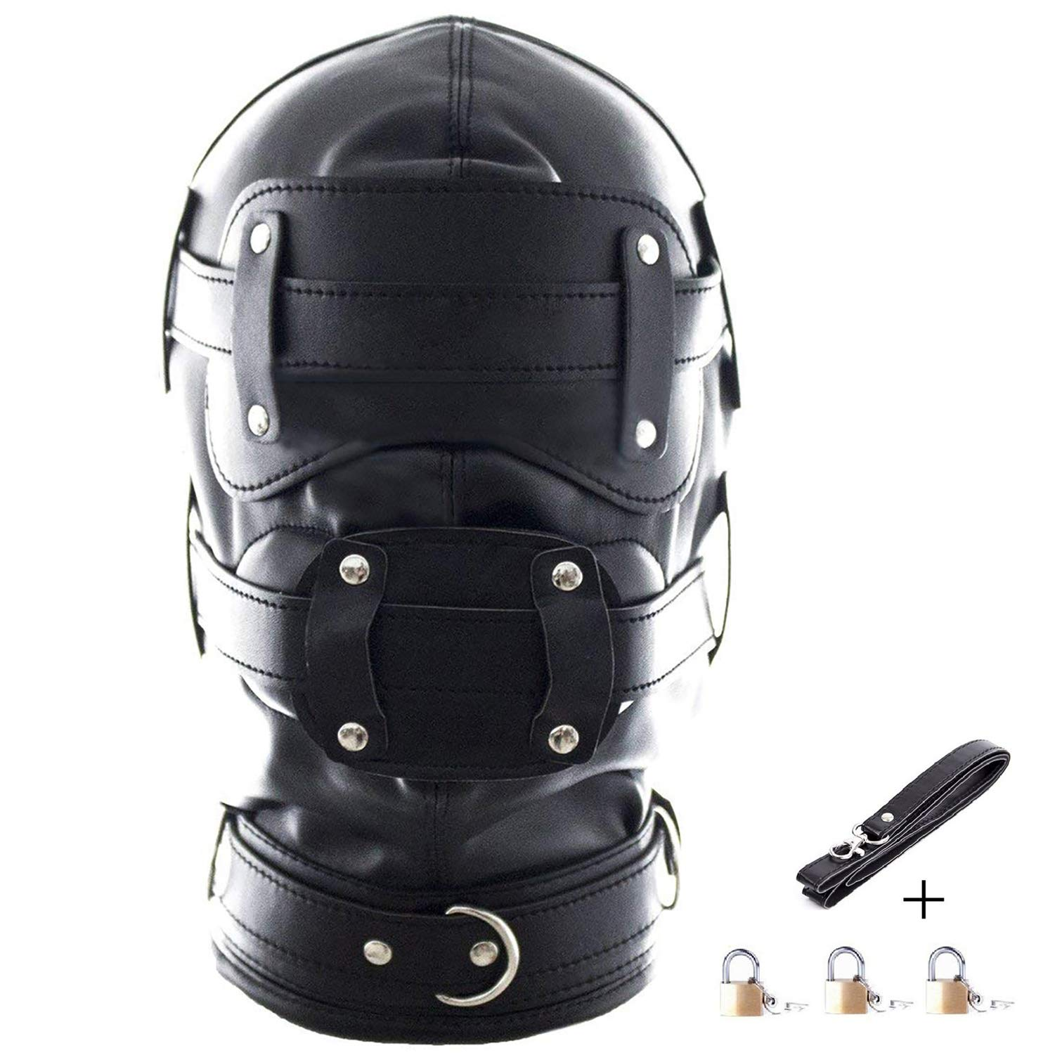 Leather Costume Head Mask Hood - Black Leather Full Face Lacing Harness Unisex Breathable Headgear Mask (Long Mouth Gag(3.9inch))