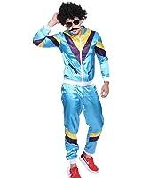 Surepromise 1980s Mens Scousers Shellsuit Tracksuit Costume Fancy Dress