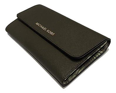 abfffa550fe1 Michael Kors Jet Set Travel Large Trifold Wallet Saffiano Leather  (Olive Palm)  Amazon.co.uk  Shoes   Bags